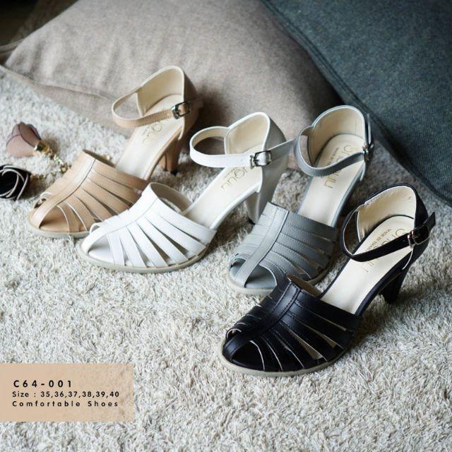รองเท้าคัชชูสาน ส้นสูงรัดข้อ