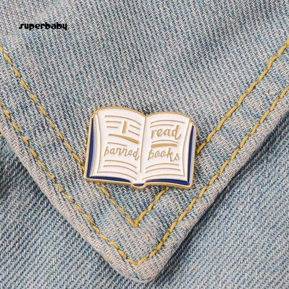 SBaby_Women English Words Banned Read Books Enamel Brooch Pin Collar Badge Jewelry
