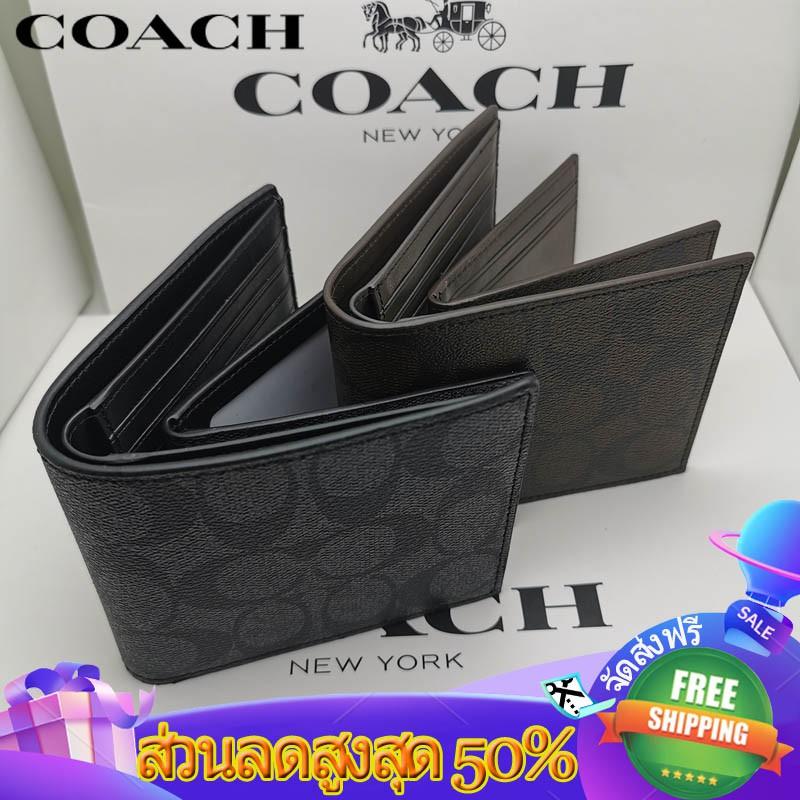 Coach กระเป๋าสตางค์หนังผู้ชาย 74993 กระเป๋าสตางค์ใบสั้น