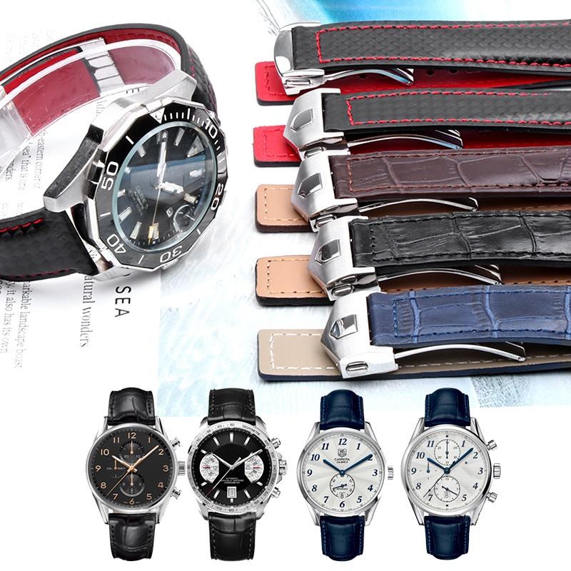 สายหนังเหมาะสำหรับการแข่งขัน TAG Heuer TAG การดำน้ำ F1 Carrera นาฬิกาเฮอริเทจพร้อมเข็มขัดนาฬิกาผู้ชาย 1922 มม