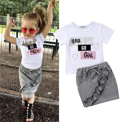 2pcs Toddler Kid Baby Girl Clothes Stripe Ruffle T Shirt Tops Pants Outfits Set