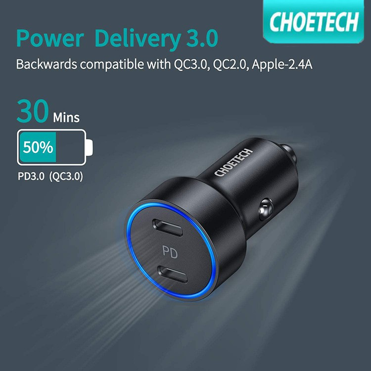 USB C Car Charger CHOETECH 36W 2-Port Fast PD 3.0 Type C Car Charger Adapter with Dual 18W Power Delivery Compatible iPh