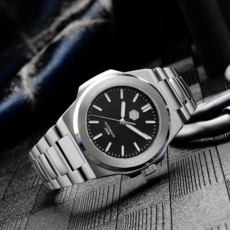 ☾≟สายนาฬิกา gshockสายนาฬิกา smartwatchสายนาฬิกา applewatchSan Martinแบบจำลองเหล็กกลนาฬิกาผู้ชายดำน้ำดูส่องสว่างNautilusเ
