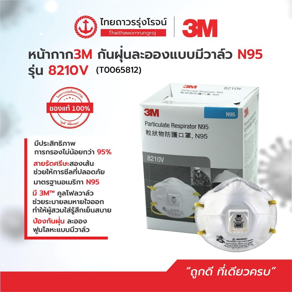3M หน้ากากกันฝุ่น คาดศรีษะ VFLEX N95 รุ่น  9105, 8210, 8210V, 9001 Paxe
