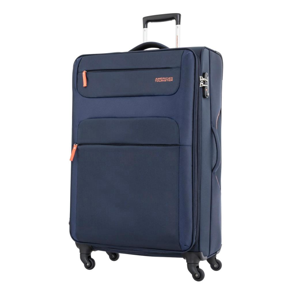 American Tourister กระเป๋าเดินทางรุ่น SKI   SPINNER 82/31 TSA (31นิ้ว) สี NAVY/ORANGE แฟชั่น
