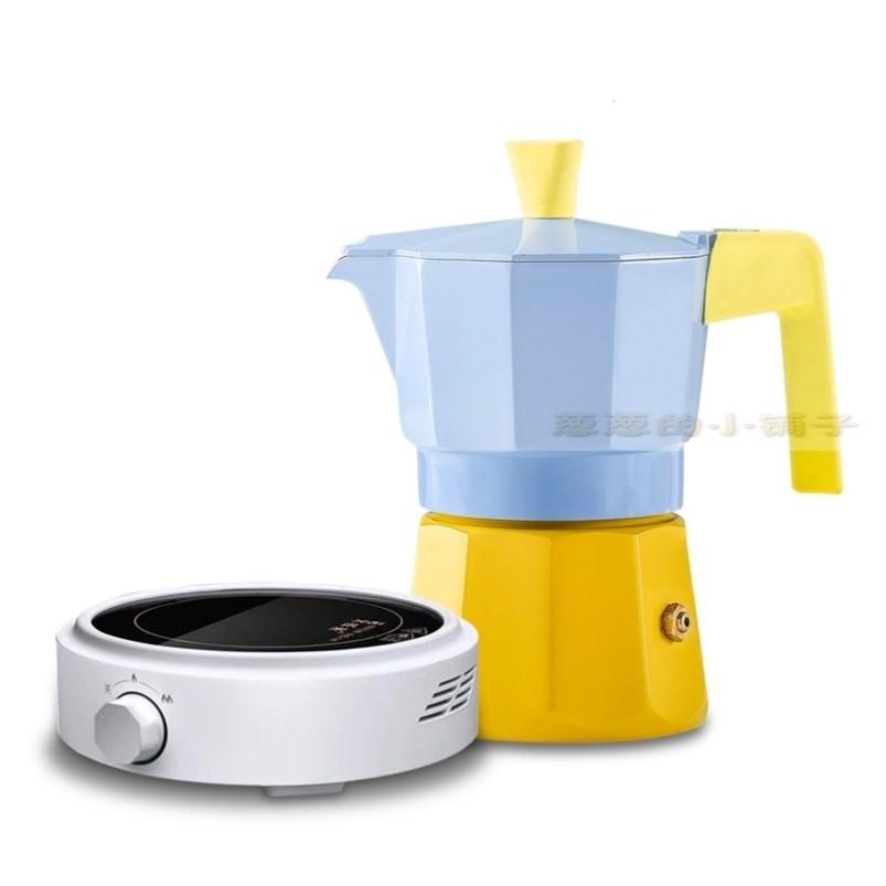 ﹨‐หม้อMokaมือหมัดครัวเรือนเครื่องชงกาแฟที่ทำด้วยมือกลิ่นหอมรายการยุโรปเดี่ยวจับถ้วยเดียวสกัดหม้อกาแฟ