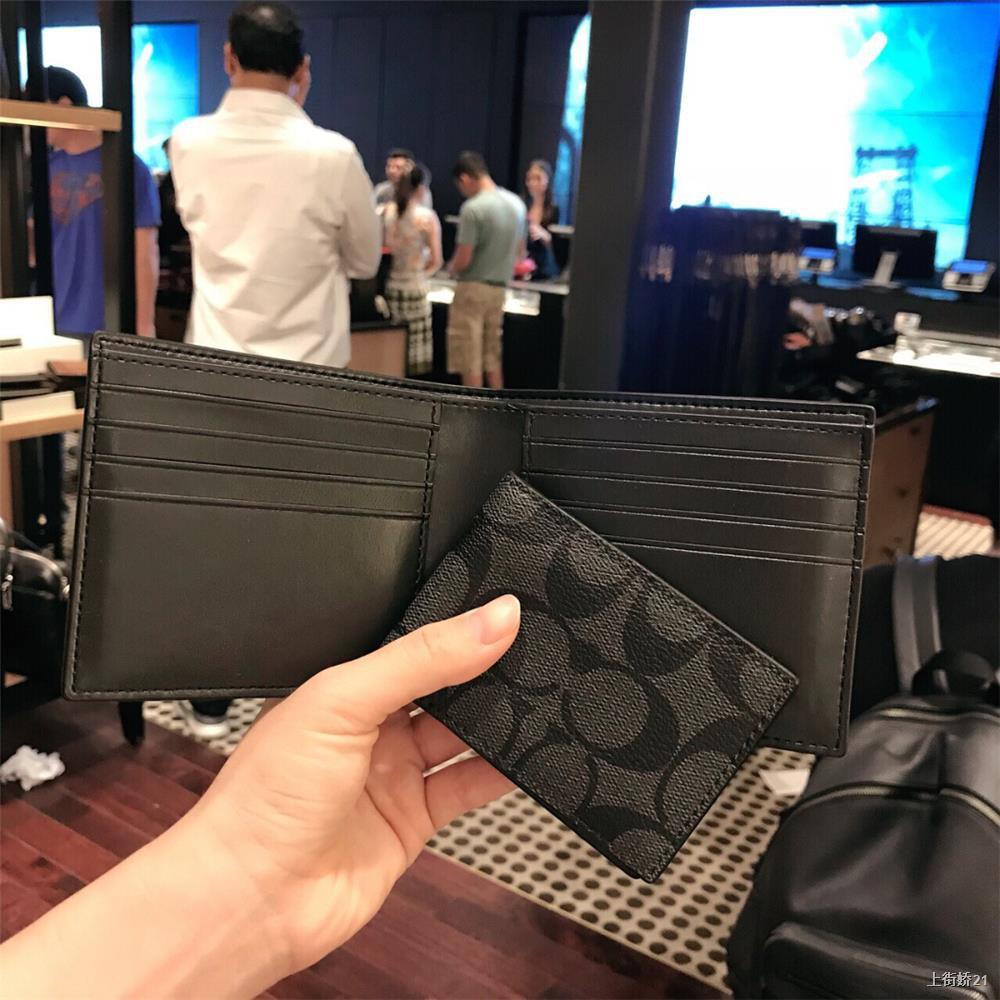 ●♙✑Coach / กระเป๋าสตางค์ใบสั้นผู้ชายกระเป๋าสตางค์แบบพับครึ่งกระเป๋าสตางค์หนังพวงกุญแจกระเป๋าใส่นามบัตร