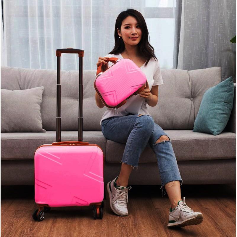 นิ้ว กระเป๋าลาก กระเป๋าเดินทางล้อคู่ แข็งแรง ยืดหยุ่นสูง น้ำหนักเบา ตัวกระเป๋ากันน้ำกระเป๋าเดินทางขนาดเล็กของผู้หญิง14รถ