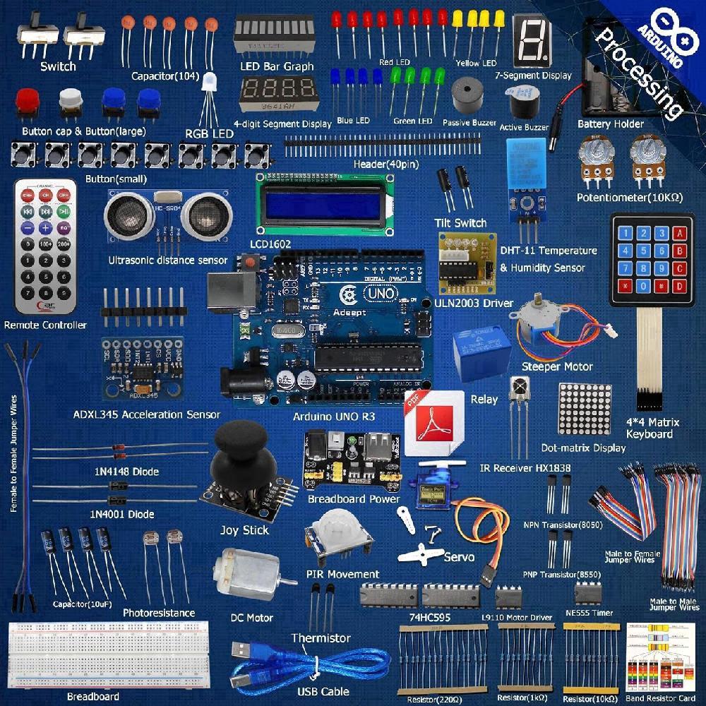 อุปกรณ์เสริมสำหรับ Arduino UNO R 3 LCD 1602 Servo processing