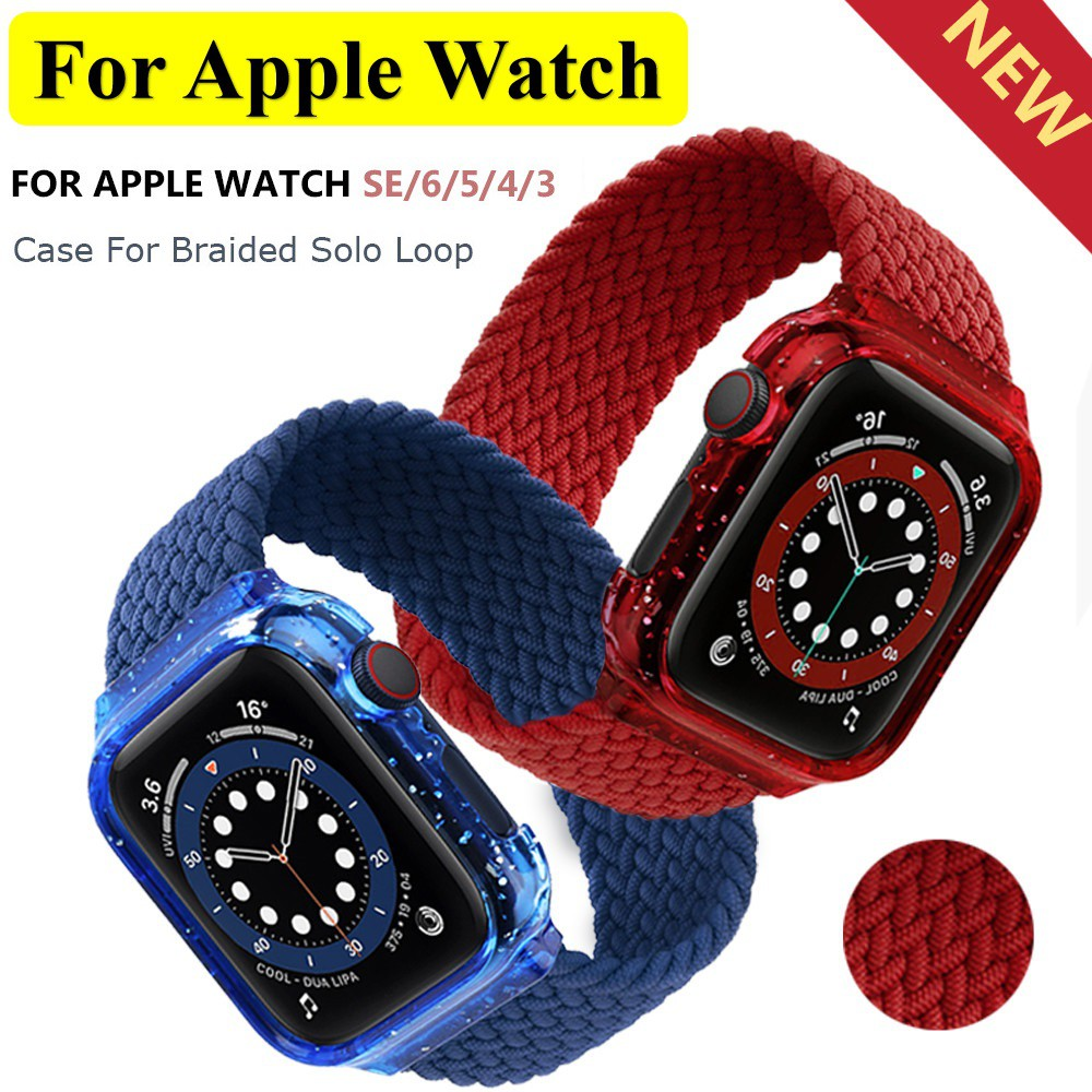 สายนาฬิกา Apple Watch Fabric Braided Solo Loop For Apple watch สาย applewatch band size 38mm 42mm 44mm 40mm iWatch band Case+Strap bracelet Apple watch SE series 6/5/4/3