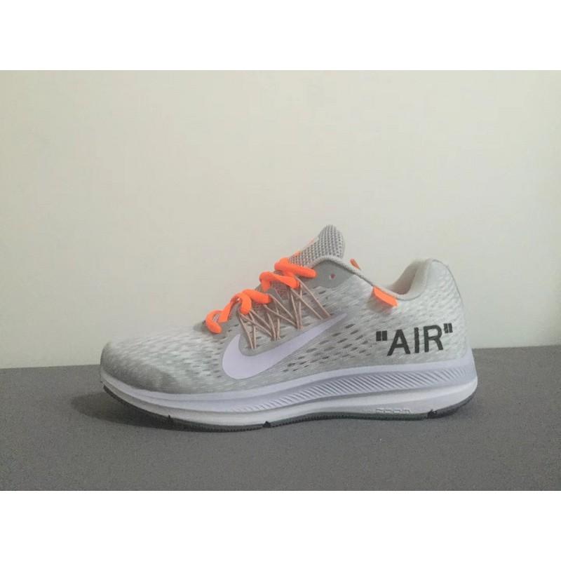 Off White X NIKE ZOOM WINFLO V5 รองเท้าวิ่ง/รองเท้ากีฬา/รองเท้าลำลอง/รองเท้าระบายอากาศ/รองเท้าวิ