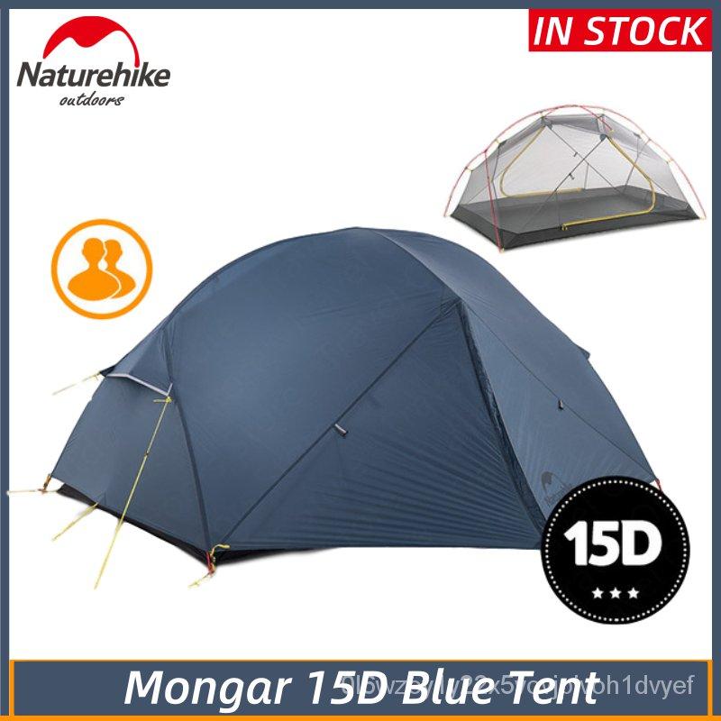 NatureHike Mongar 15Dสีฟ้าCampingเต็นท์2คนUltralight 15DไนลอนอลูมิเนียมPole Double Layerเต็นท์เดินป่ากลางแจ้ง ZSA0