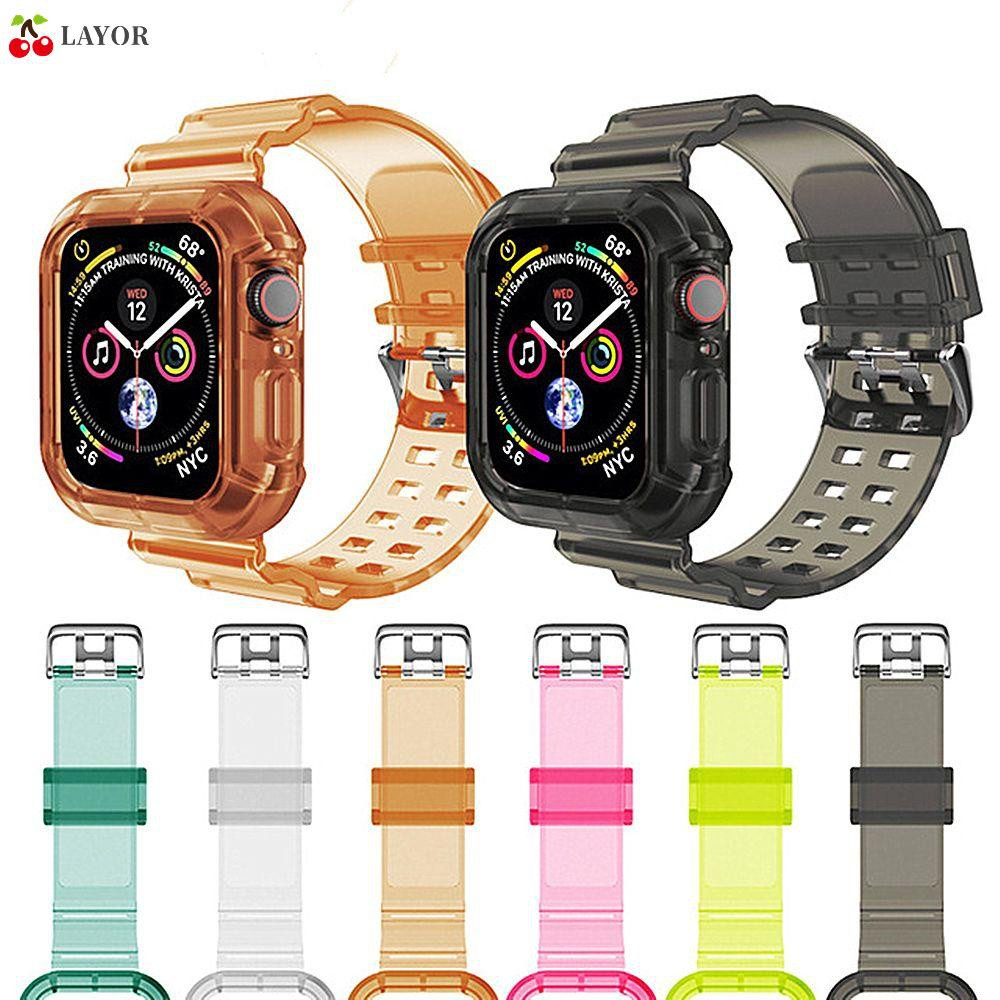 💜LAYOR💜 Durable Watch Band 38mm 40mm 42mm 44mm Sport Strap Compatible with Apple Watch Silicone TPU Crystal Clear Adjustable Compatible with Watch Series6/5/4/3/2/1/SE/Multicolor