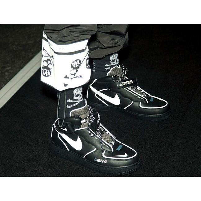 【Kuang】C2H4 x MMJ x Nike Air Force 1 Mid วางจำหน่ายรองเท้าผ้าใบสีดำสะท้อนแสง