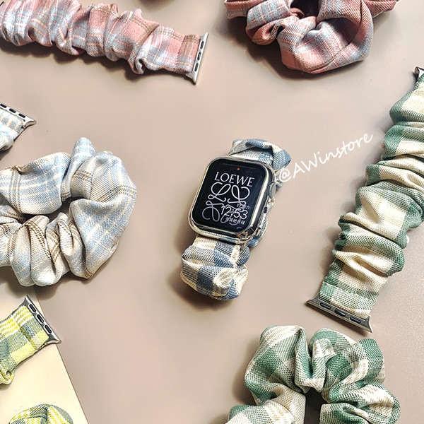 สาย applewatch AWin|少女JK格子帆布大肠发圈表带适用苹果applewatch123456SE代