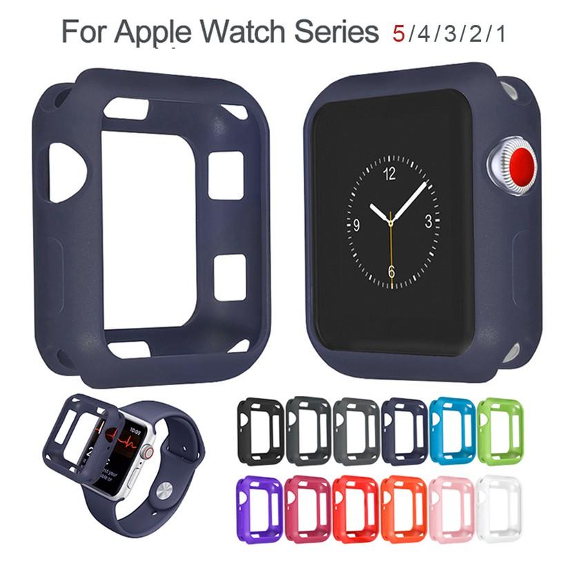 คสนาฬิกา TPU สำหรับ Apple Watch 38mm 40mm 42mm 44mm Case สีด้านป้องกันปลอก TPU สำหรับ iWatch Series 5 4 3 2 ฝาครอบ