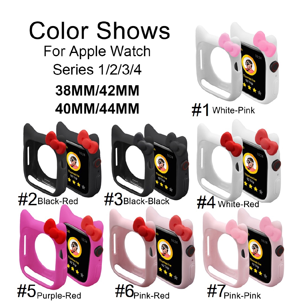 【Apple Watch Case 】เคสซิลิโคนลาย Hello Kitty สำหรับ Apple Watch Series 1 2 3 4 5 6 se 38mm 40mm 42mm 44mm