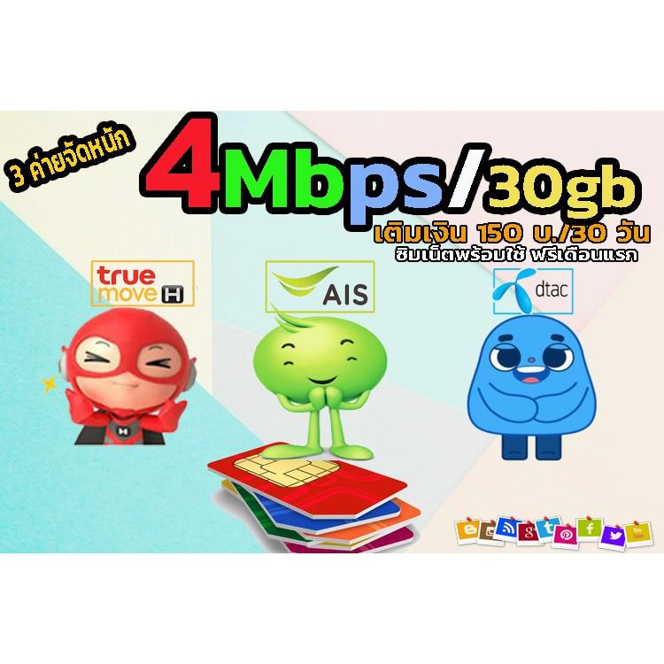 ซิมเทพ ซิมเน็ต ความเร็ว 4 Mbps สูงสุด 30 GB 30 วัน เติมเงิน 150 บาท  ซิมพร้อมใช้ ฟรีเดือนแรก ซิมเน็ตAIS