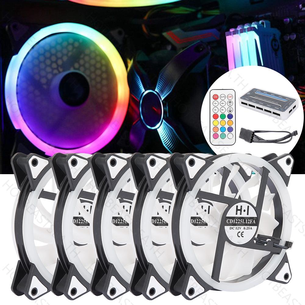 5 * RGB Case Fan Game Max 120mm PC Case Fan 7 Colors LED Ring 5 * RGB Case Fan