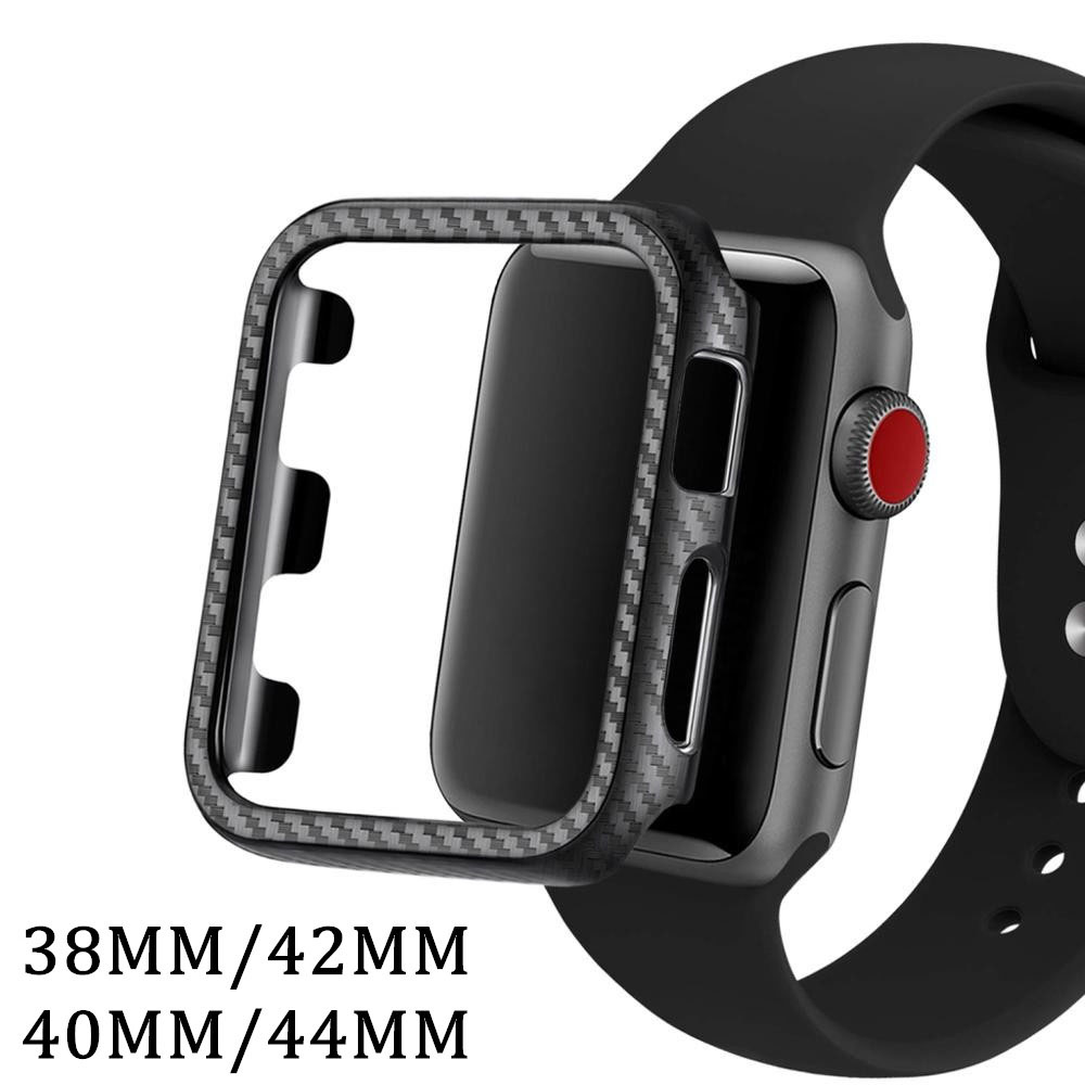 PC watch cover For apple watch case 42mm 44mm 6 SE 5 4 3 2 1 iWatch Cover 38mm 40mm Carbon Fiber shell bumper protective case
