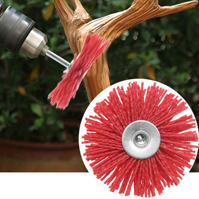 Deburring Abrasive Steel Wire Brush Head Polishing Red Nylon Wheel Cup Shank