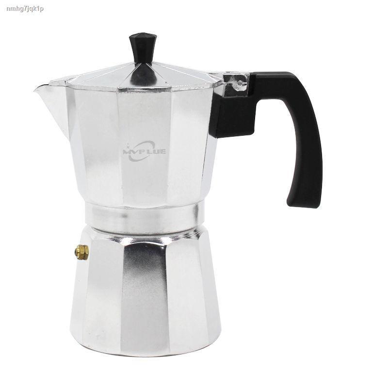 ⊙หม้อกาแฟย้อนยุคอิตาลี Moka pot ทำอาหารในครัวเรือนแบบพกพาหม้อลาเต้เข้มข้นเริ่มต้นเครื่องชงกาแฟสีดำหม้อล่าง Seiko