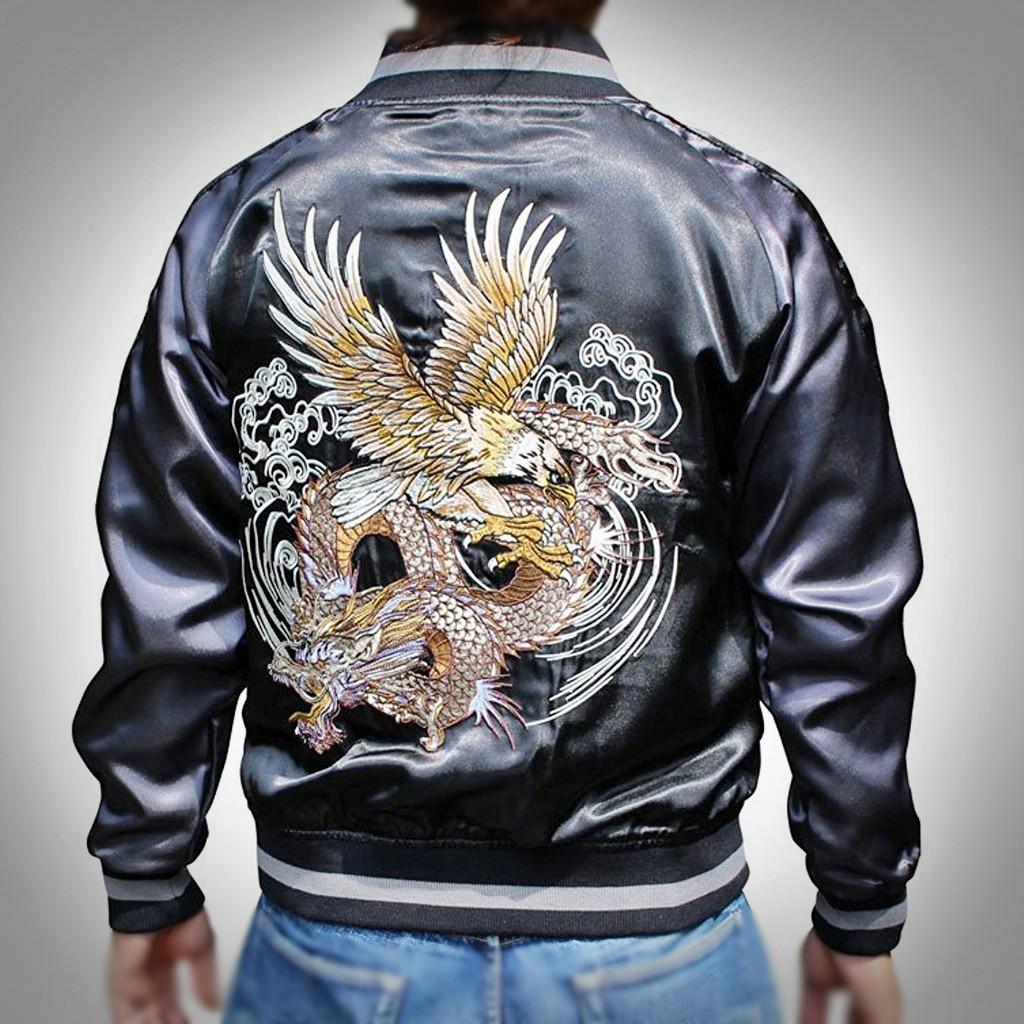 SUKAJAN พรีเมียมเกรด Japanese Souvenir Jacket  แจ็คเกตซูกาจันลาย  DRAGON n PHOENIX