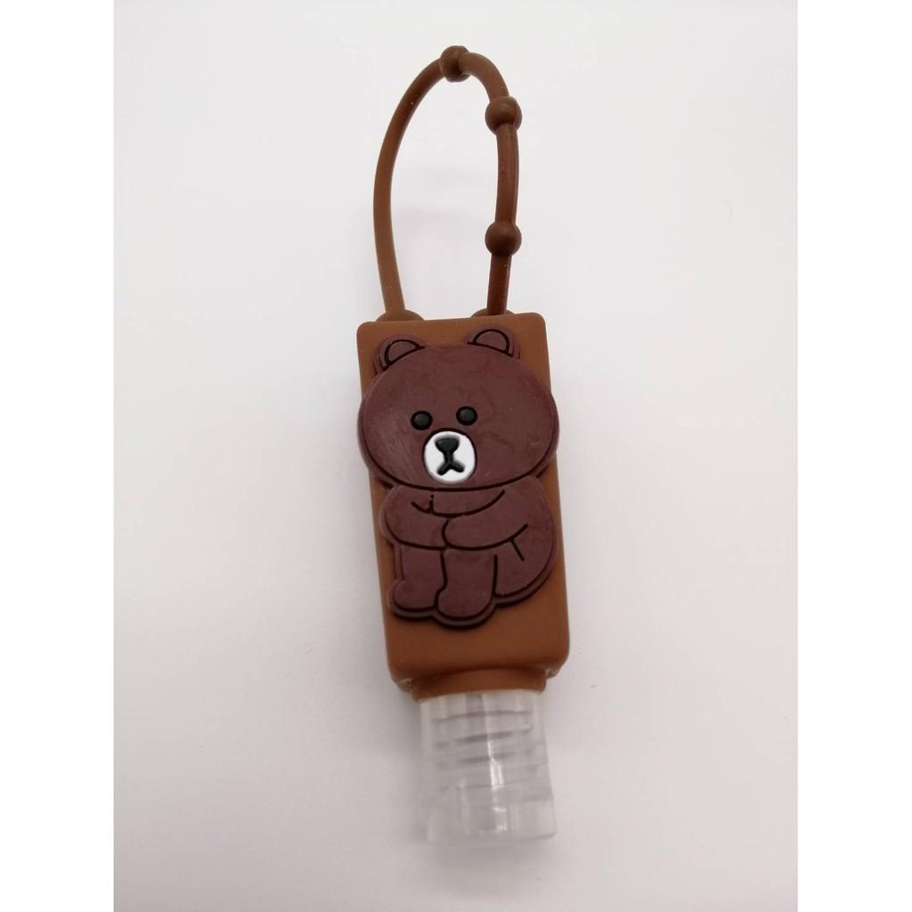 ที่ห้อยเจลยางลายหมีน้ำตาล ขวดเติมเจล ที่ห้อยเจลสำหรับเด็ก เจลล้างมือเติมได้ ห้อยกระเป๋านักเรียน