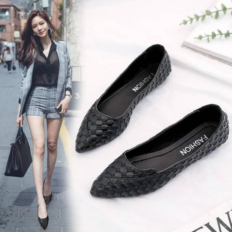 รองเท้าคัชชู หนังนิ่ม หัวแหลม ส้นแบน สไตล์เกาหลี สำหรับผู้หญิง