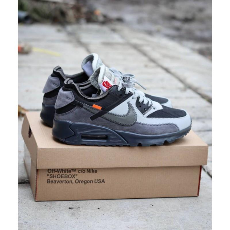 Airmax 90 รองเท้าผ้าใบชายสีขาวเทา