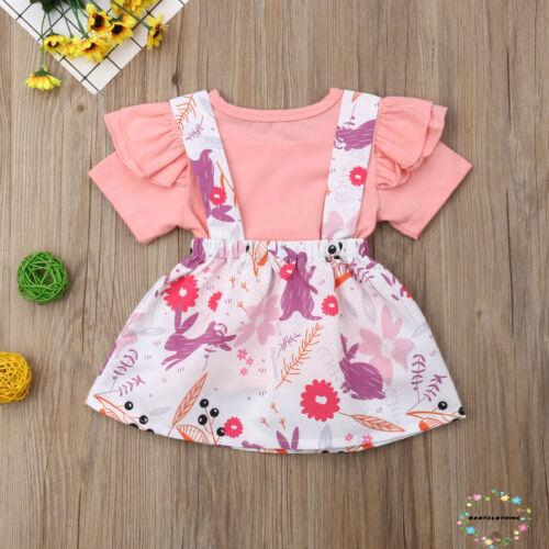 2PCS Baby Toddler Girls Sweet Plaid T-shirt Suspender Skirt Dress Outfit Clothes