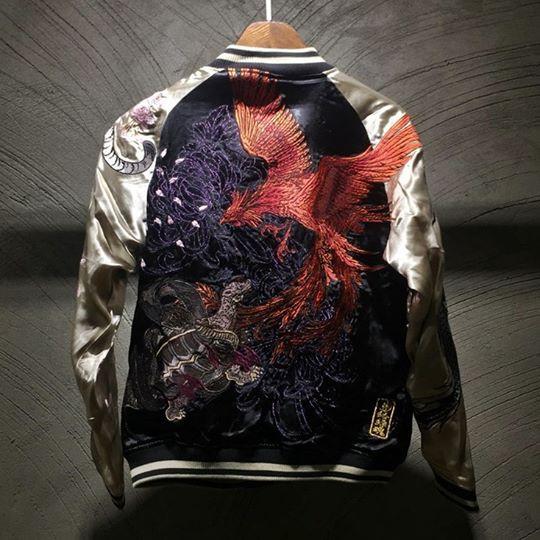 SUKAJAN พรีเมียมเกรด Japanese Souvenir Jacket  แจ็คเกตซูกาจันลายสี่เทพฟีนิกซ์เพลิง