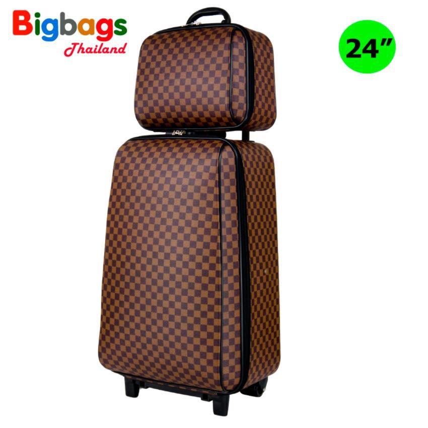 จัดส่งรวดเร็ว MZ Polo กระเป๋าเดินทาง ล้อลาก 4 ล้อคู่หลัง เซ็ทคู่ 24 นิ้ว/14 นิ้ว รุ่น New luxury 72824 (Brown)