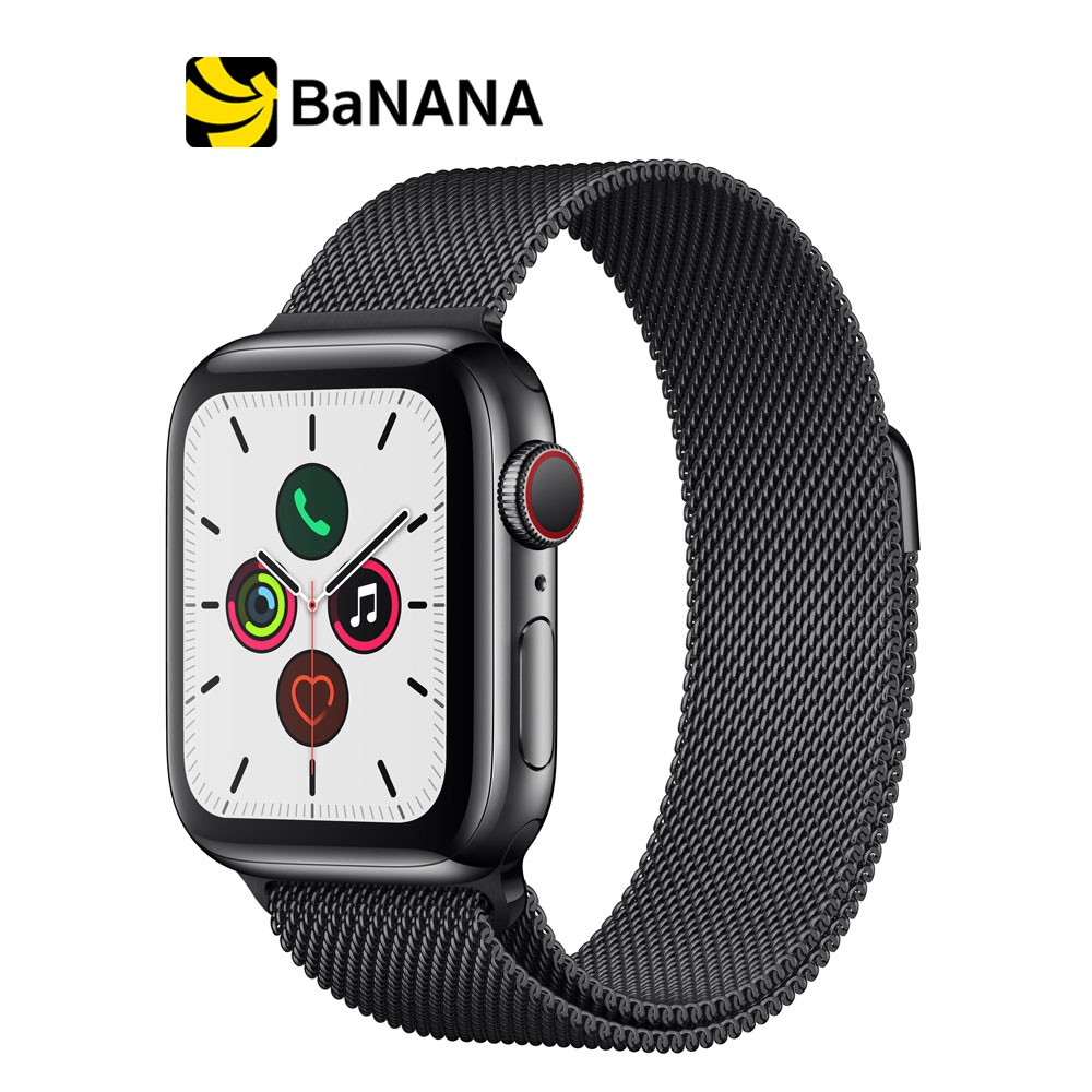 Apple Watch Series 5 GPS + Cellular 40mm Space Black Stainless Steel Case with Space Black Milanese Loop by Banana IT