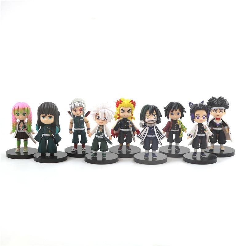 9 Pcs/Set Demon Slayer Anime Kimetsu No Yaiba Figure 8cm Tomioka Giyuu Kochou Shinobu Rengoku Kyoujurou Action Figure To