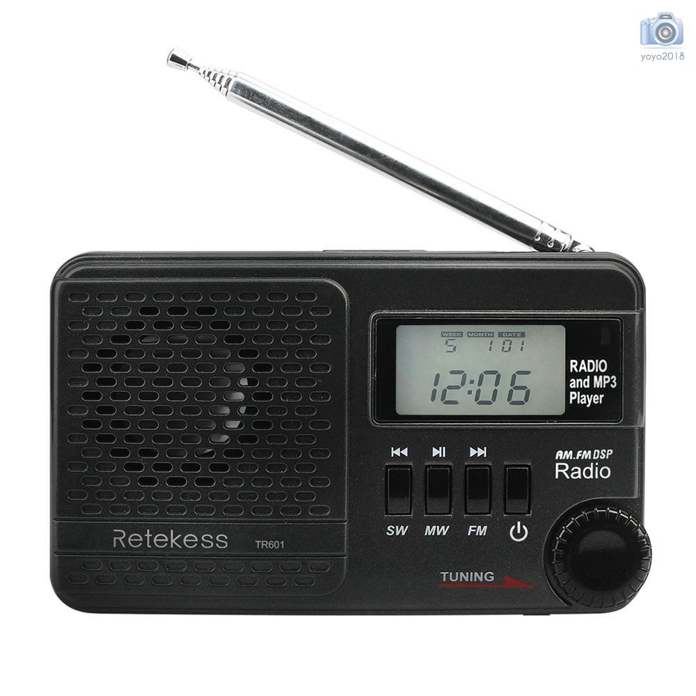 Mini AM FM Radio Digital Portable Pocket Stereo Receiver Clock with Headphone