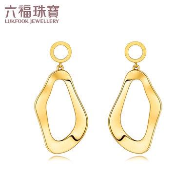↻♁รวงข้าวเครื่องประดับตุ้มหูLuk Fook Jewellery Big Wave Water Wave ต่างหูทองต่างหูทองแข็งราคาของขวัญสำหรับผู้หญิง a03tbg