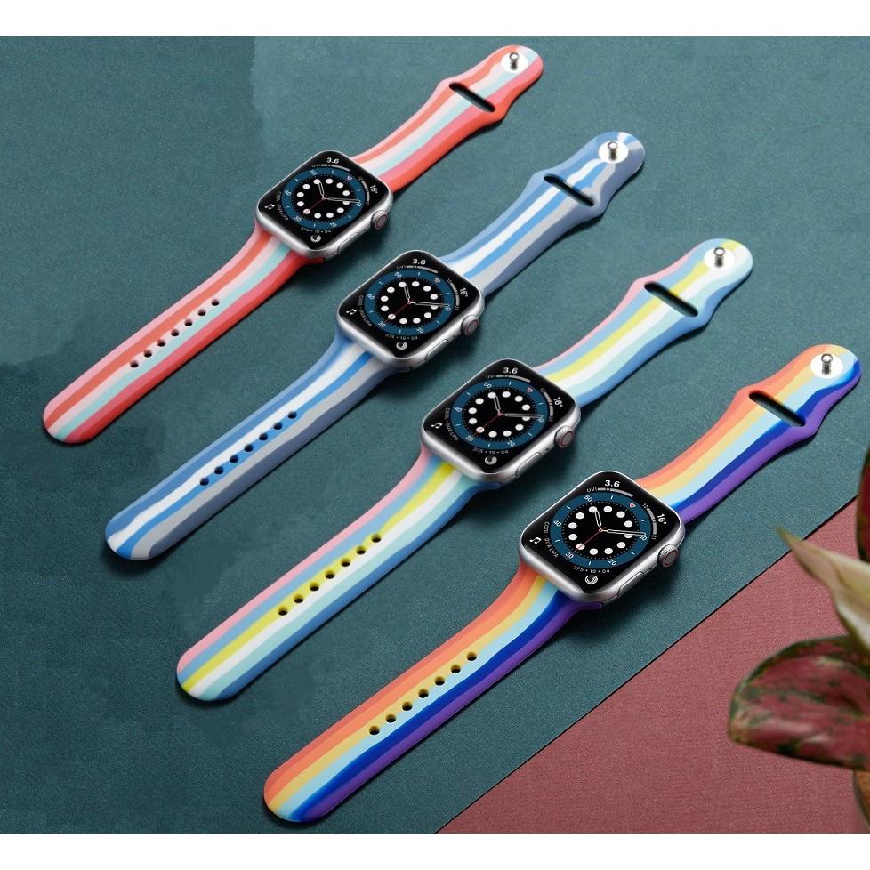 New สาย Apple Watch Strap Soft Rainbow Silicone Strap สายนาฬิกา Apple Watch 38mm 42mm 44mm 40mm Band iWatch 6 Series 6 SE 5 4 3 2 1 Bands Sport T500 Smart Watch Strap Silicone Belt Bracelet สาย applewatch