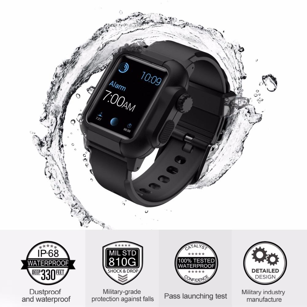 Apple Watch Strap เคสกันน้ำ + สายคล้องสำหรับ Apple Watch Series 6 SE 4 5 40 mm 44mm