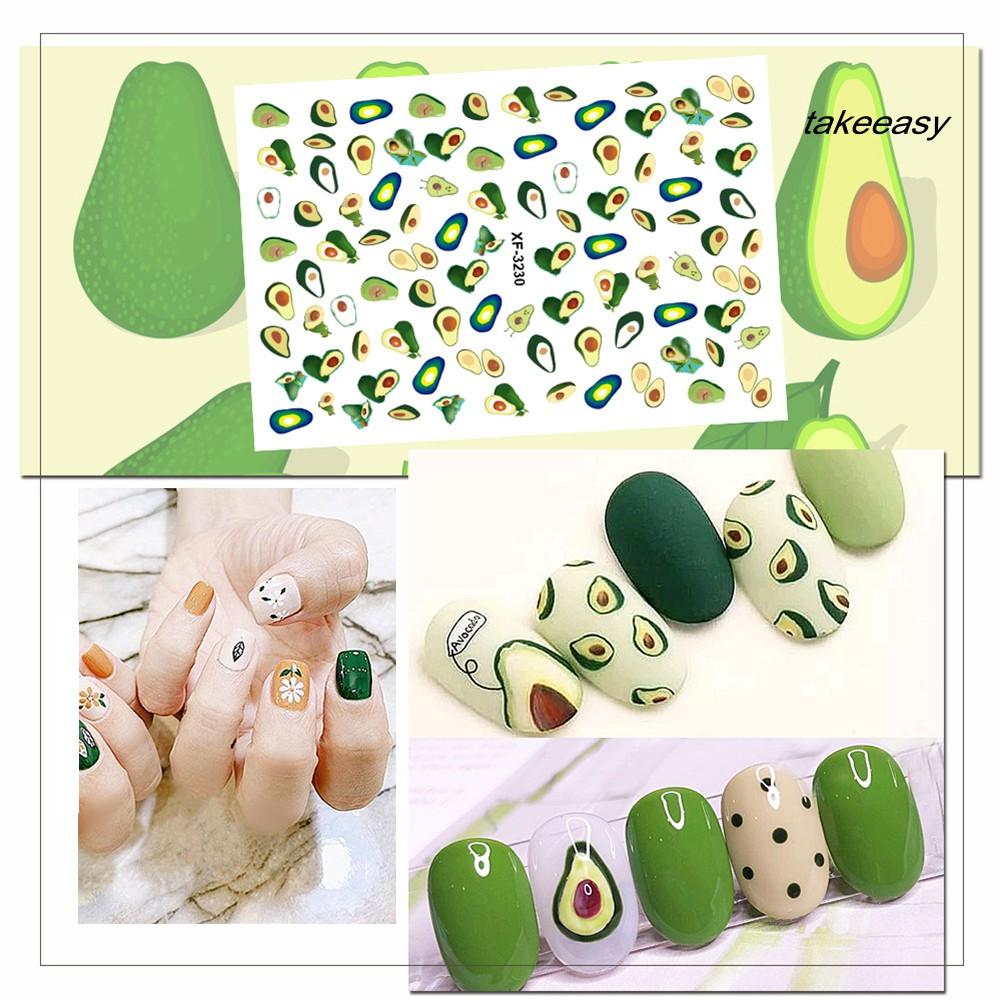 【฿9】Waterproof Avocado Leaf Cactus Nail Sticker Full Cover Wrap DIY Adhesive Decor
