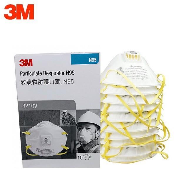 3M 8210V N95 ชนิดมีวาล์ว หน้ากากป้องกันฝุ่น 1กล่อง (10ชิ้น) Mask Valved Respirator