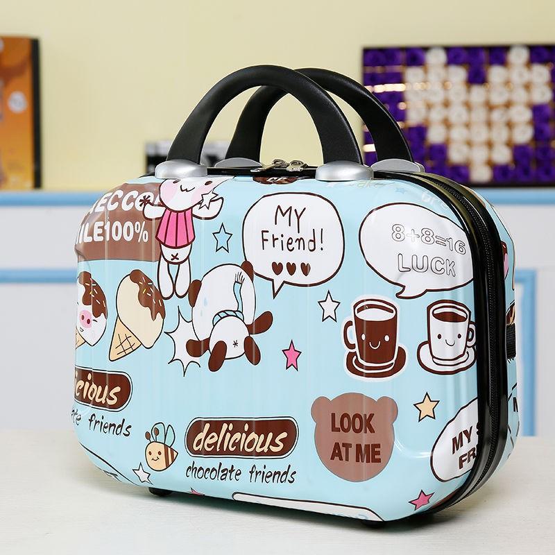รูปแบบน่ารัก 14 วาดการ์ตูน 16 นิ้วกระเป๋าเดินทางกระเป๋าเดินทางขนาดเล็กหญิงกระเป๋าเดินทางมินิกระเป๋าใส่เครื่องสำอาง