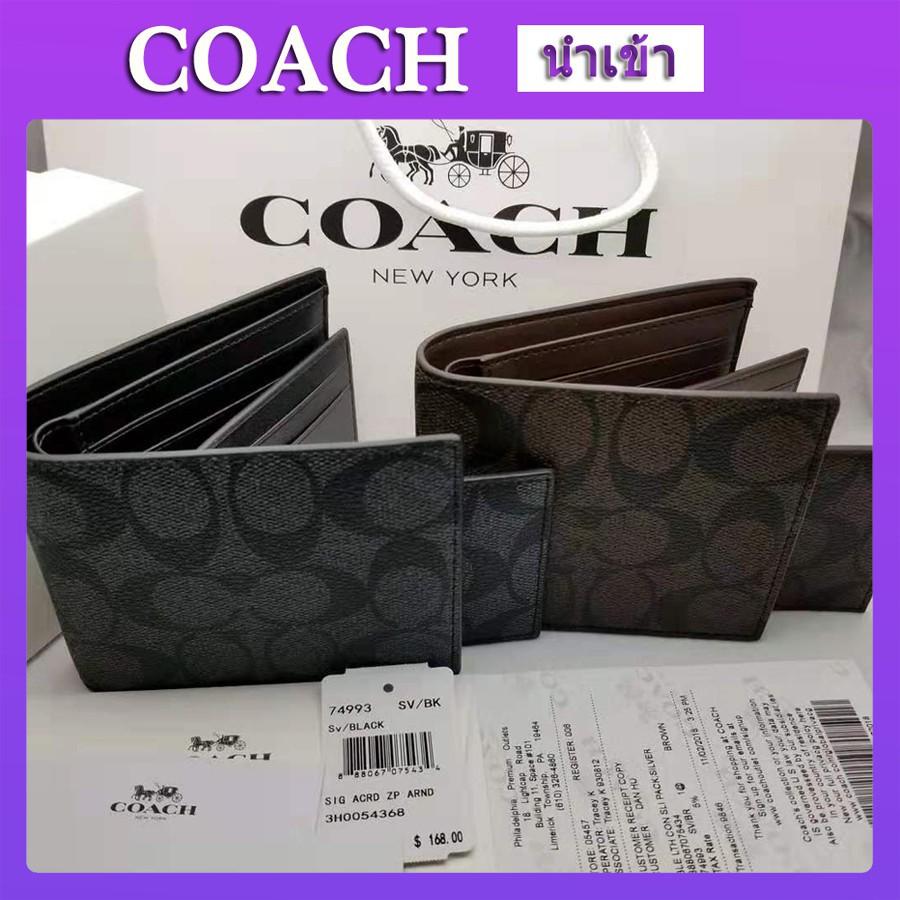 ใหม่coach แท้ กระเป๋าสตางค์ใบสั้น กระเป๋าสตางค์ชาย 74993หนังแท้กระเป๋าสตางค์COACH100% แท้