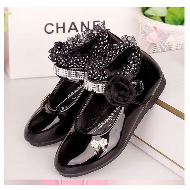 รองเท้าคัชชู หนังแก้ว สายเพชร หญิง สวยหรู Size 21-37 รองเท้าคัชชูเด็กหญิง สีดำ [เก็บเงินปลายทางได้ค่ะ]