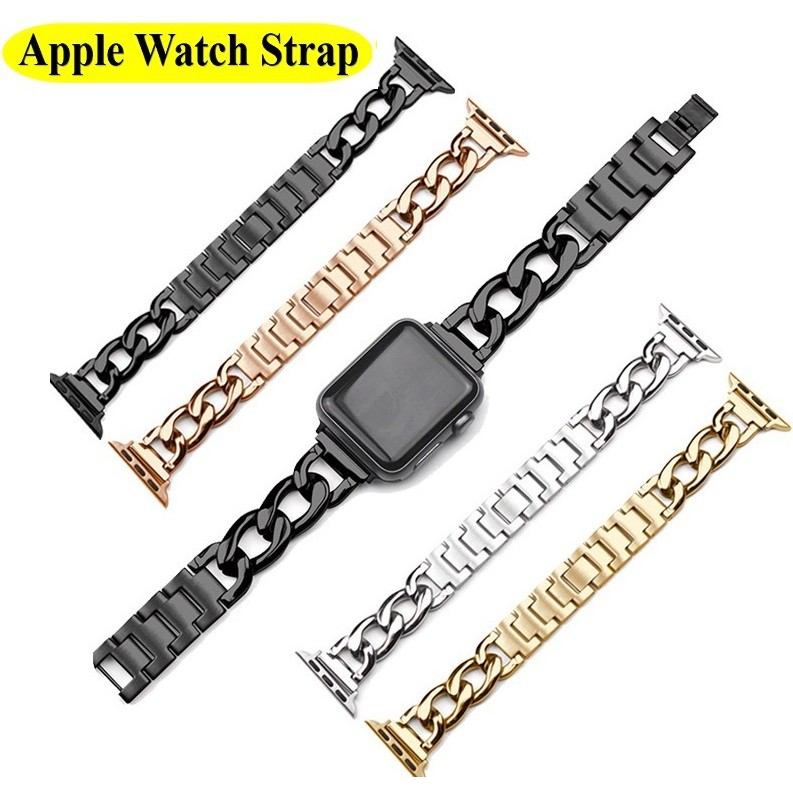 Luxury Chain สายนาฬิกา Apple Watch Straps เหล็กกล้าไร้สนิม สาย Applewatch Series 6 5 4 3 2 1, Apple Watch SE Stainless Steel สายนาฬิกาข้อมือ for apple watch iWatch Series5,Series4 ,Series3, Series2 Watch band iwatch size 38mm 40mm 42mm 44mm