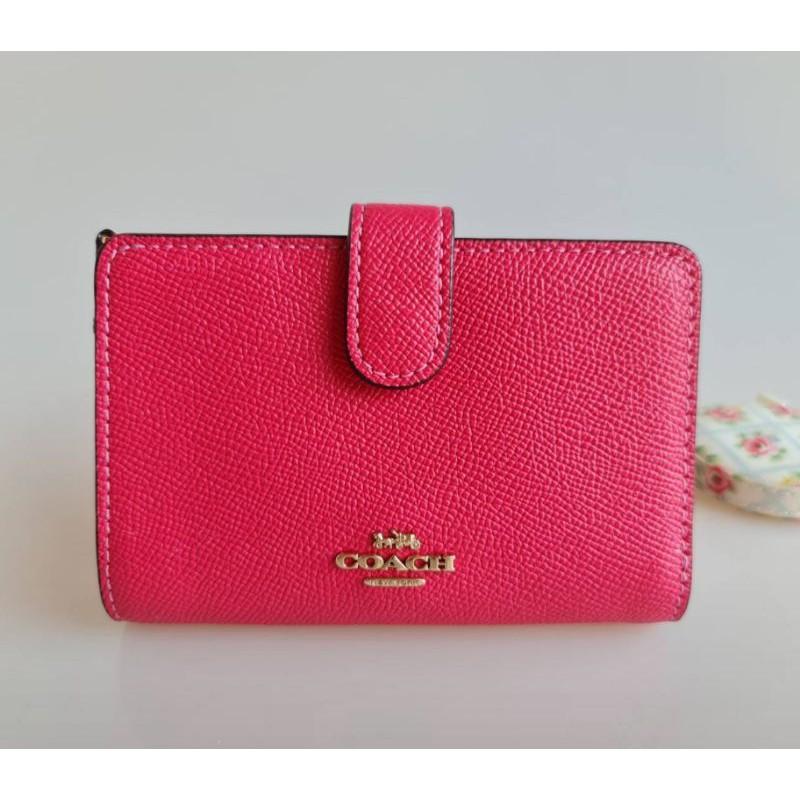 🎀 ส่งฟรี กระเป๋าสตางค์  ใบสั้น 2 พับ ใบกลาง สีชมพู Electric Pink COACH 11484 MEDIUM CORNER ZIP WALLET