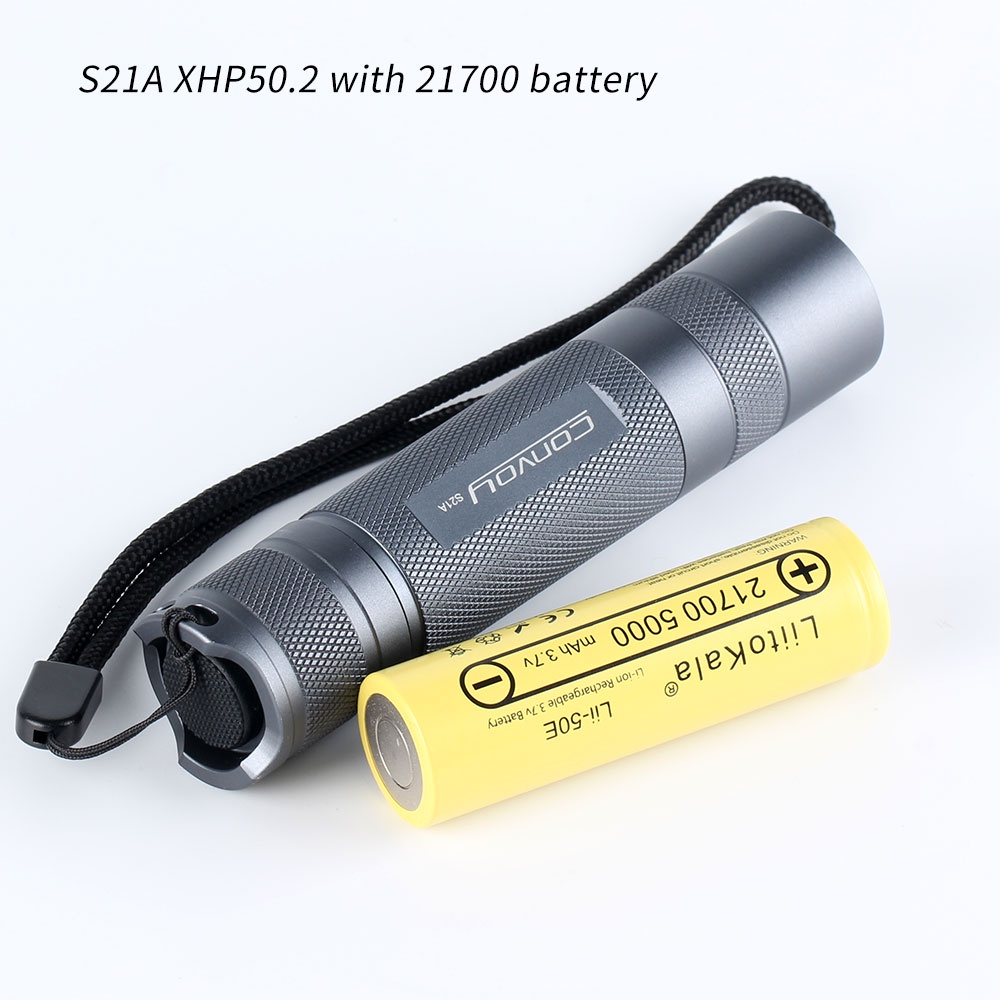 Gray convoy S21A with XHP50.2 ,copper DTP board,ar-coated lens, Temperature control,21700 flashlight,with 21700 lithium battery