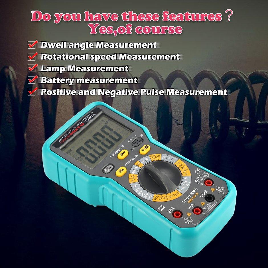 2900A Digitales Kfz-Multimeter 6000 Zählwerte AC DC Volt Amp Ohm Diodenprüfgev