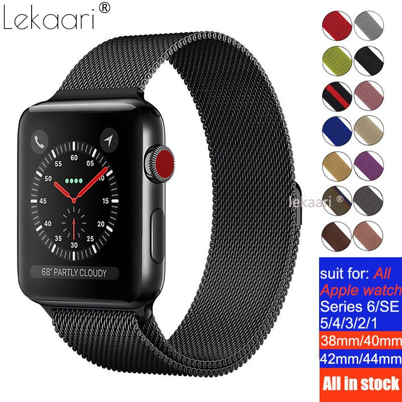 Band For Apple Watch 44mm 42mm 40mm 38mm Strap iWatch Series SE 6 5 4 3 2 Gen Milanese Stainless Steel Loop Magnetic Bracelet