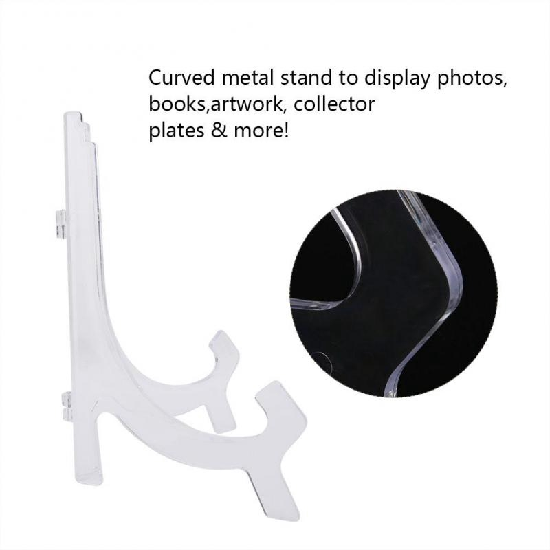 1pc Foldable Plastic Clear//Black Display Stand Plate Photo Frame Holder Easel